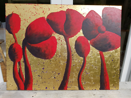 Painting of Poppies with Gold Leaf