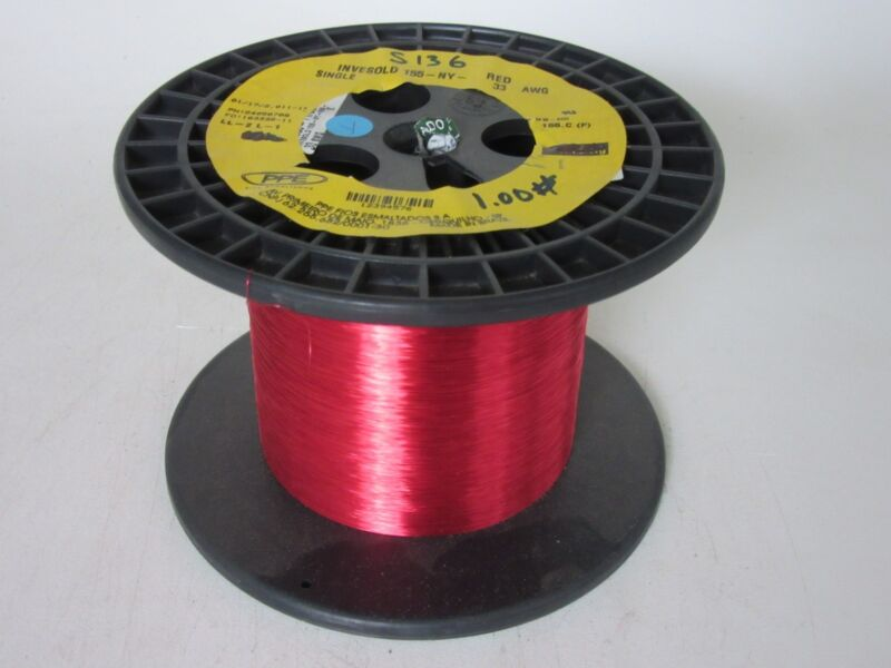 33 AWG  1.00 lbs.   PPE Invesold 155 Enamel Coated Copper Magnet Wire
