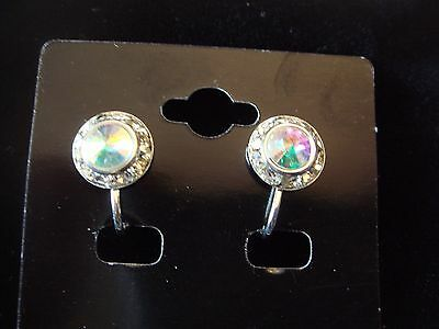 11mm Crystal AB Rondel and Rivoli Button Earrings CLIP (B-13)