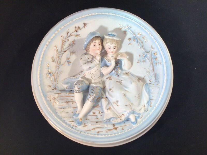 """Antique Raised Relief Courting Couple 9"""" Bisque Porcelain Wall Plaque Hanging"""