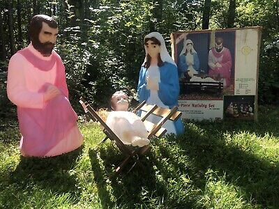 Vtg Blow Mold Nativity Set Empire Outdoor lighted Mary Joseph Baby Jesus W Box