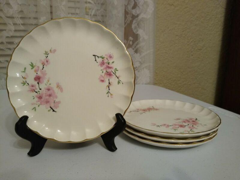 "Set of 4 Vintage W.S. George Bolero Peach Blossom Bread Plates 6.25"""