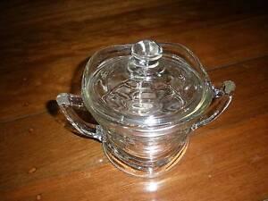 retro glass lidded - candy bowl ; sugar bowl ; honey jar ; maple Sandgate Brisbane North East Preview