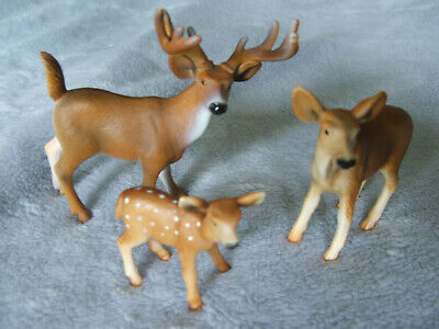 SCHLEICH DEER FAMILY - LOT OF THREE (3) - FREE SHIPPING