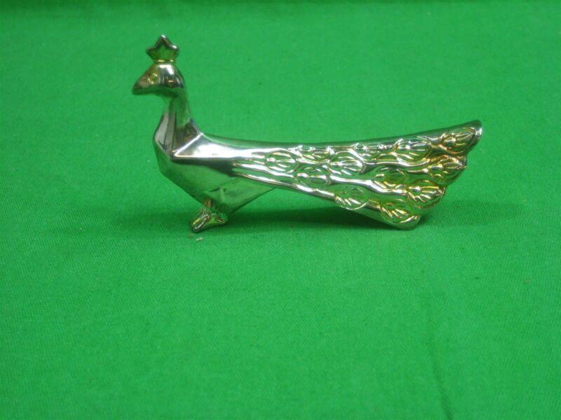 Vintage Brass Peacock Knife Rest Holder