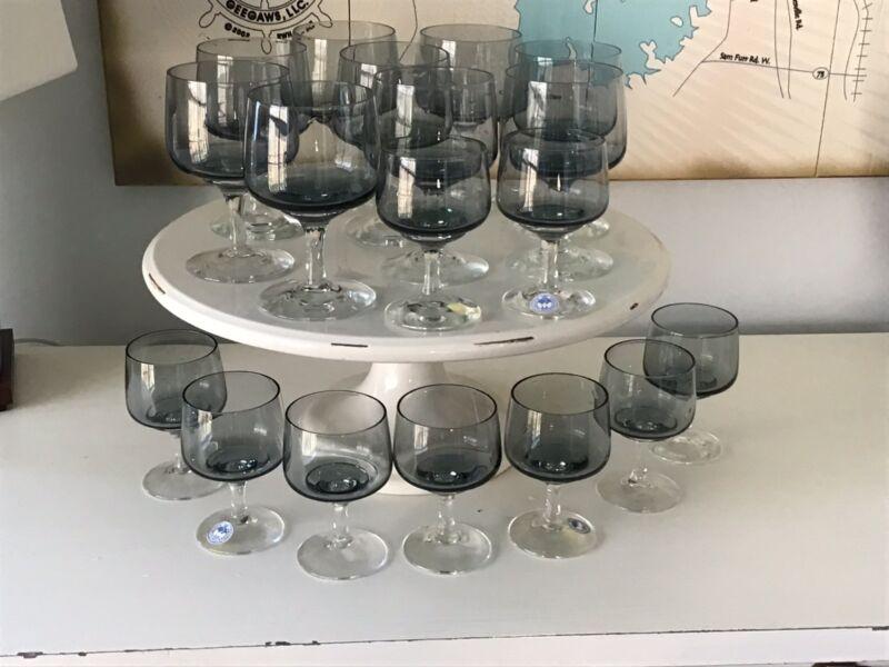 Set of 18 MCM Kastrup Holmegaard Glasses ATLANTIC Denmark Smoke Gray stemmed