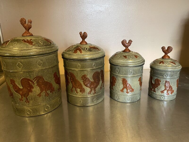 OLD DUTCH  Rooster Canister Set Of 4