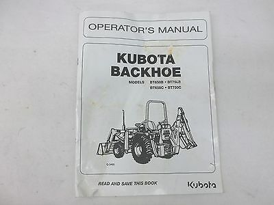 Kubota Backhoe Model Bt650b Bt650c Bt750b Bt750c Operators Manual