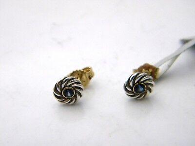 David Yurman Kids September Birthstone Earrings Blue Sapphire Silver/Gold NWT