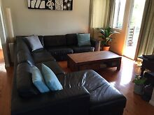 Black leather lounge Moorooka Brisbane South West Preview
