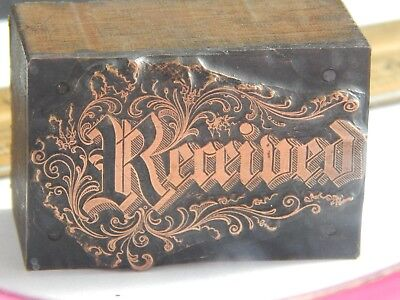 Amazing Beautiful Elaborate Antique Copper And Wood Printers Block Received