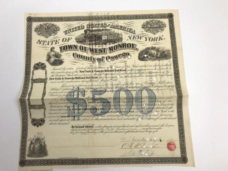 Rare Vintage 1868 New York & Oswego Midland RailRoad Stock Certificate