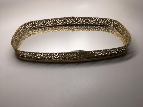 Vintage Ornate Gold Tone Metal Filigree Mirrored Vanity Dresser Tray