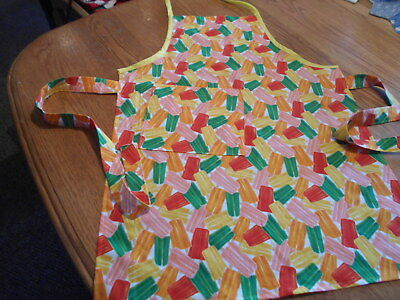 Women's Adult Hand-Crafted Apron for  Kitchen/Art Work/Gardening~Popsicle Print