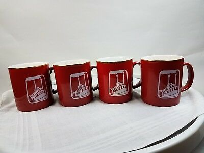 Vintage KilnCraft River Steam Boat Paddle Wheeler Red Coffee Mug Cups Lot Of 4 for sale  Shipping to Canada