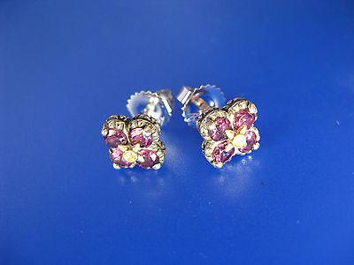 BARBARA BIXBY RHODOLITE GARNET TOPAZ LOTUS FLOWER EARRINGS SS 18K DESIGNER Gift Designer Rhodolite Earrings