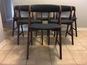 Set of 6 Mid century modern Danish Teak dining chairs