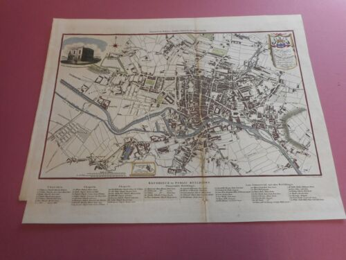 100% ORIGINAL LARGE LEEDS TOWN CITY MAP BY BAINES  C1822 VGC HAND COLOURED