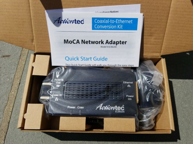 Actiontec Bonded MoCA 2.0 ECB6200 Ethernet to Coax Adapter Single Pack