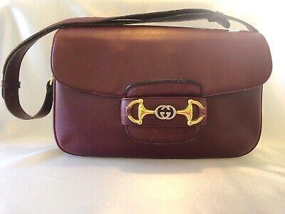Gucci 1955 Horsebit Shoulder Bag Vintage 1980's Red Leather One Owner Authentic
