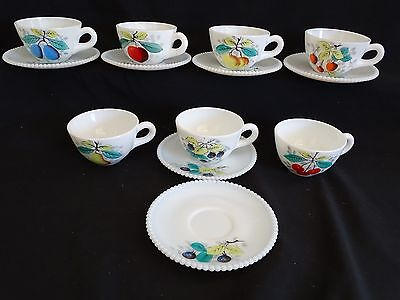 Westmoreland USA Beaded Edge 7 Cups 6 Saucers Various Fruit Designs