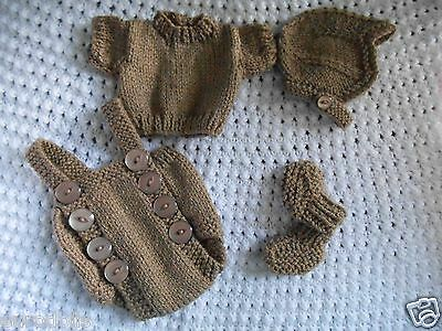 """Doll Clothes brown mouse color set handcrafted 4 pc for composition baby 11"""" 13"""""""