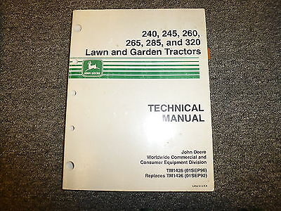 john deere 320 285 265 260 245 240 tractor shop service repair manual tm1426