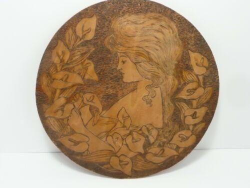 ANTIQUE Vintage PYROGRAPHY Burnt Wood Round Lady  Lillies Flemish Art