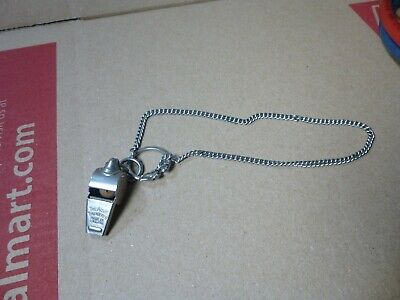 Vintage Acme Thunderer Whistle w/ Chain Made in England Meyer NY Army Navy