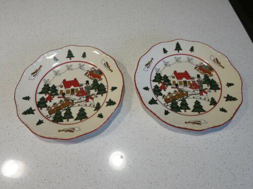 MASONS CHRISTMAS VILLAGE LOT OF (2) SALAD PLATES