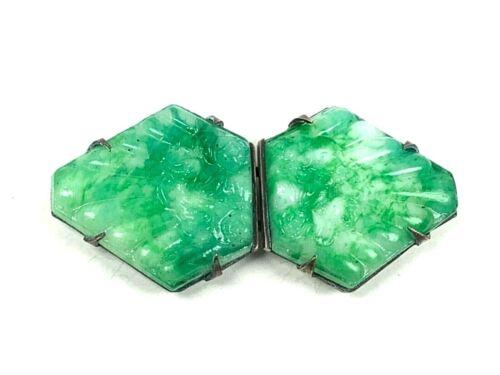 "Art Deco Silver Tone Czech Pressed Glass Mottled Jade Green Belt Sash Clip 2.75"""