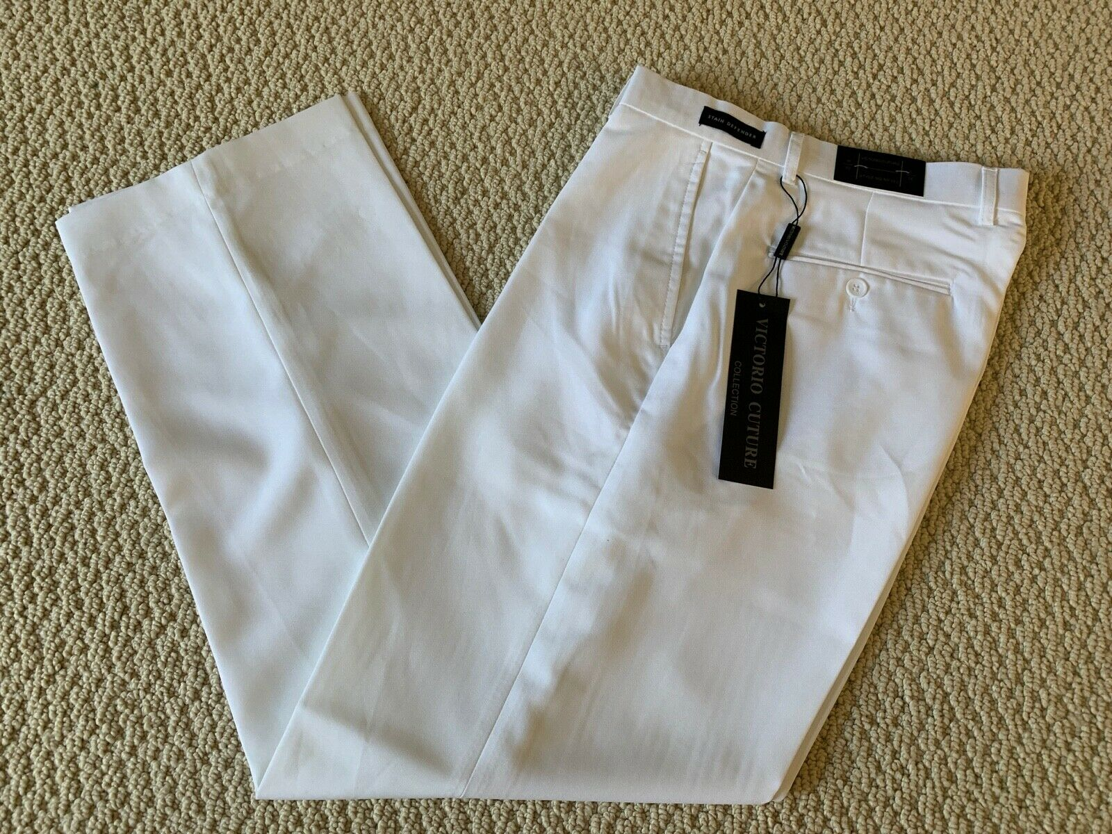 NWT Men's Victorio Cuture White Flat Front Dress Pants ALL S