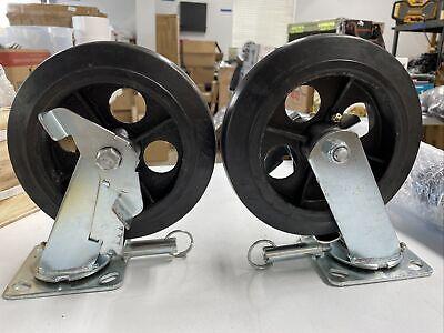 Pair Heavy Duty 8 X 2 Swivel Casters Wheels With Locking Brakes Swivel Plate