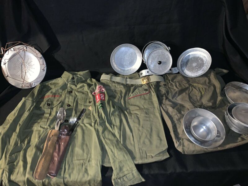 Vintage Boy Scouts  Mess Kit Pants Shirt Backpack Lot Fork Knife Patches