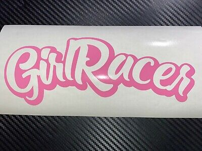 PINK Girl Racer Car Sticker Decal JDM Vdub Drift Track Race