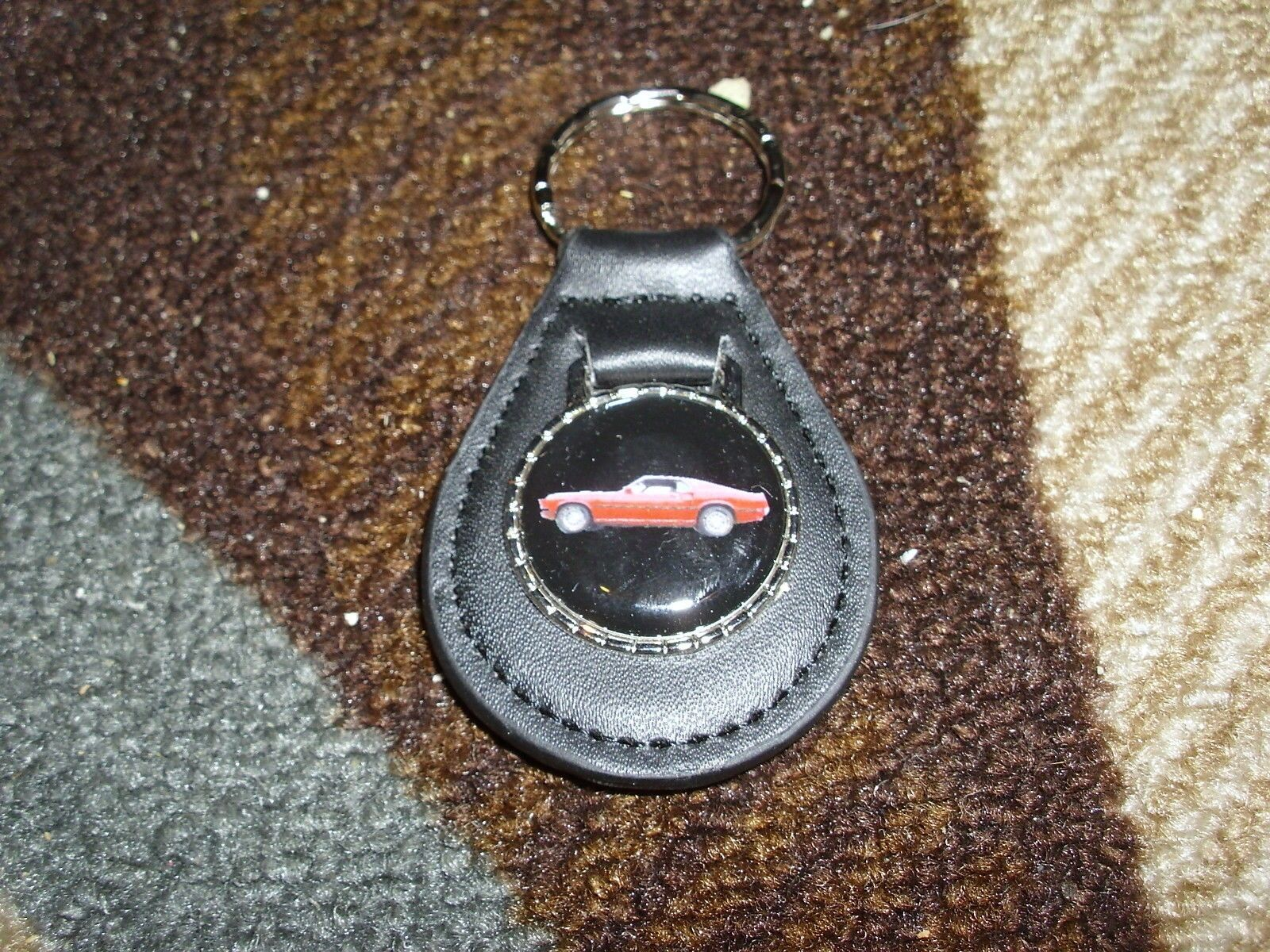 1969 FORD MUSTANG MACH 1 RED CAR LEATHER LOGO KEYCHAIN KEYRING NEW BLACK NICE!!