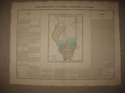 HUGE IMPORTANT ANTIQUE 1825 ILLINOIS CHICAGO CAREY & LEA BUCHON HANDCOLORED MAP