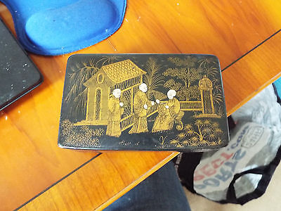 ANTIQUE BLACK GOLD LACQUER CHINESE ORIENTAL CARD TRINKET SNUFF BOX  cloisonne