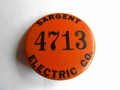 Vintage Sargent Electric Company Employee ID Pinback Badge