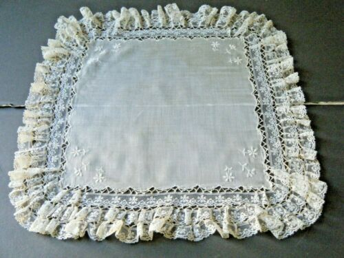 Hanky Bridal Wedding soft silk beige Emb/ry needle work ruffle valenciennes lace