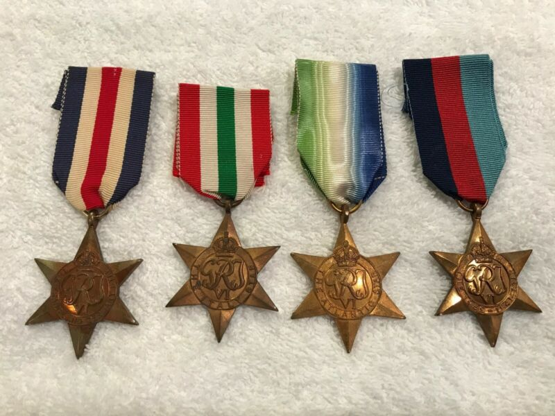 WWII British 1939-45 Atlantic Italy France Germany Star Campaign Medal Group Lot