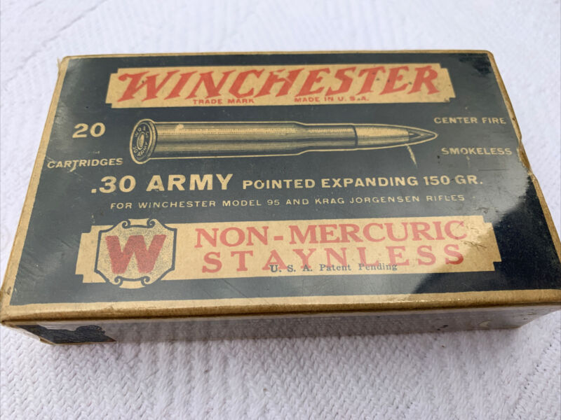 VINTAGE WINCHESTER .30 Army Caliber Pointed Expanding 150 GR. BOX ONLY