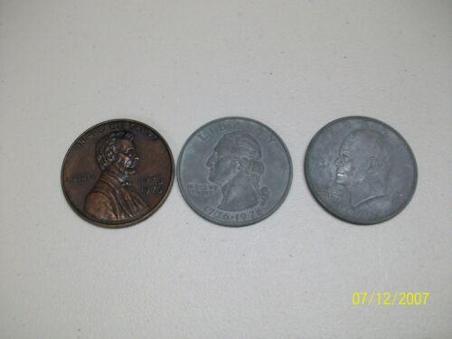 SET OF 3 NOVELTY LARGE METAL COINS SILVER DOLLAR QUARTER PENNY