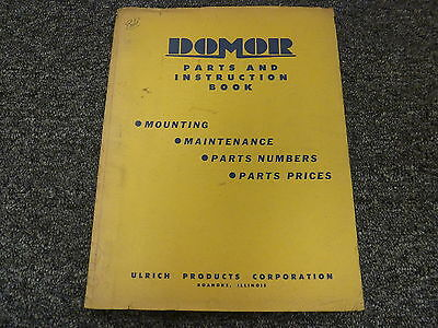 Ulrich Domor Snow Blower Attachment Parts Catalog Owner Operator Manual Book