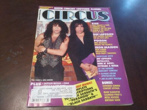 Vintage Circus Mag Jul 1992 !! Kiss,Maiden,Queen,Def Leppard, Poison,Ozzy