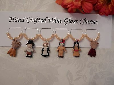 """THANKGIVING "" SET OF 6 Hand Crafted Wine Glass Charm drink markers"