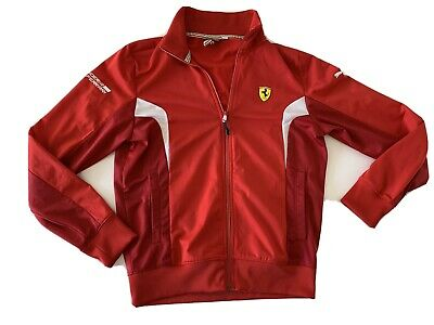 FERRARI PUMA Men's Red Full Zip Track Jacket Size Small Suderia Full Zip