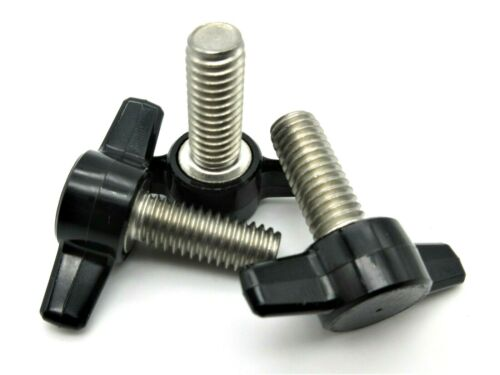 "3/8"" X 1"" Thumb Screws Tee Wing Bolt  HD Delrin Head  SS thread  6 per package"