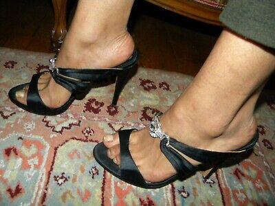 AWESOME BADGLEY MISCHKA Black Satin Jeweled Open-Toe High Heels Sandals Sz. (Jeweled Satin Sandals)