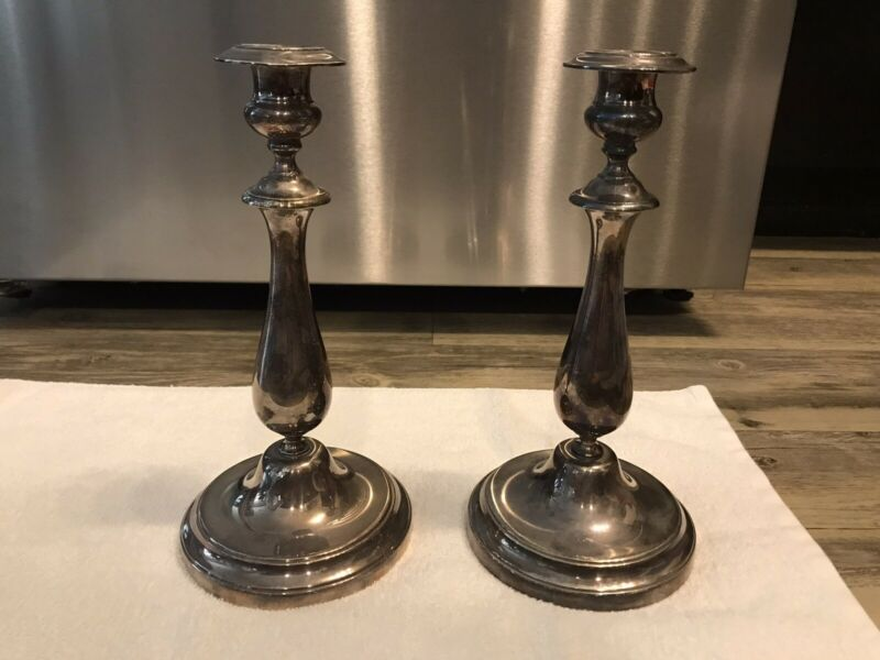 "Christofle 10 1/2"" Tall Silver Plated Candlestick Pair With Bobeches"